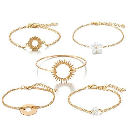 KUANGLANG 5 unids/Set Pulsera de Sol de Flor de Cristal Bohemio Cadena Ajustable Pulseras Boho de Moda Conjunto de joyería India