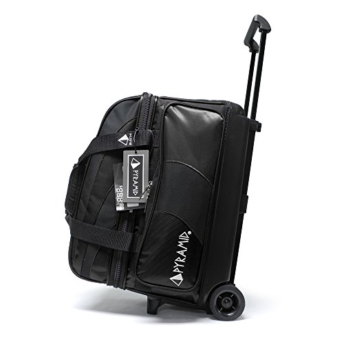 Pyramid Path Deluxe Double Roller with Oversized Accessory Pocket Bowling Bag (Black/Black)