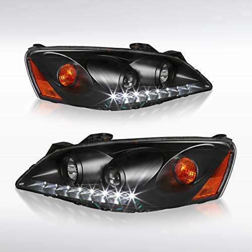 Autozensation For Pontiac G6 GT GTP Projector Headlights Black Housing Clear Lens w/Amber Reflector Pair