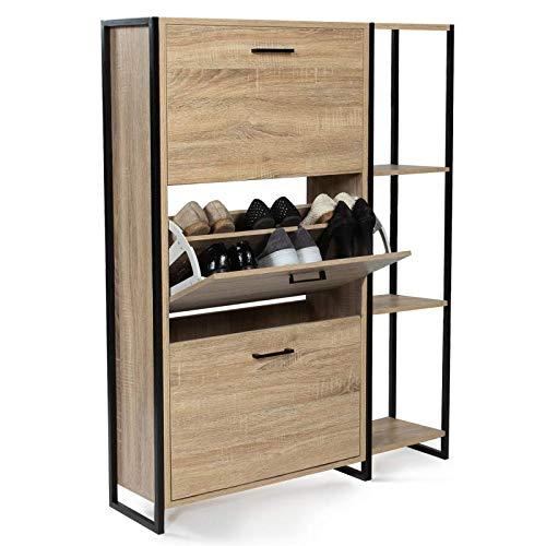 IDMarket - Meuble à chaussures LUIS 3 portes avec étagère design industriel