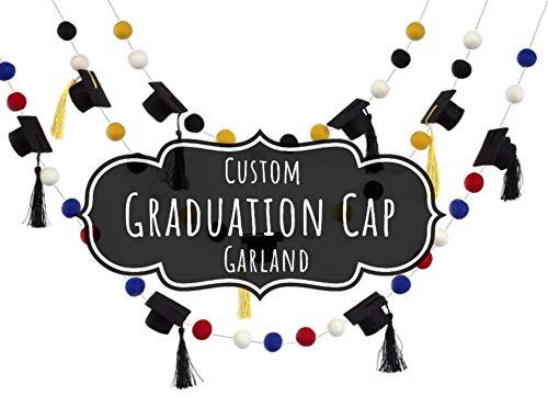 CUSTOM Graduation Cap Felt Ball Garland- 1' (2.5 cm) Wool Felt Balls- Graduation Hat Mortar Board Tassel Party Decor Banner