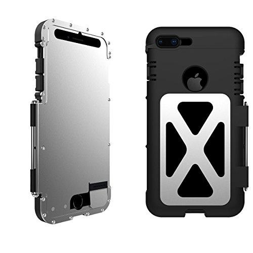 iPhone 8 Plus Antiurto Custodia, iPhone 7 Plus Case, Claelech Extreme Armor Stainless Steel + Nylon 66 rotante Supporto Heavy Duty protettiva Cover in metallo Flip (iPhone 8 Plus/7 Plus, argento)