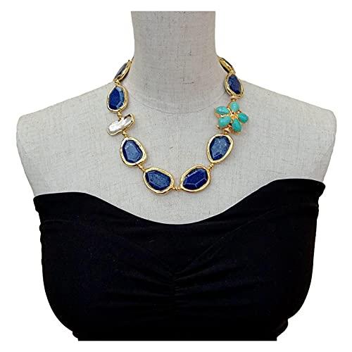 TYUTYU Collar Facetado Blue Lapis Lazuli Chunk Turquoise Flower Blanco Biwa Pearl con galería de Borde electroplateado