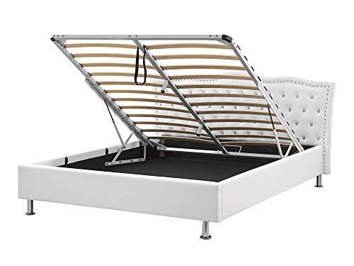 Glamouröses Bett weiß mit Bettkasten Kunstleder hochklappbar 180 x 200 cm Metz