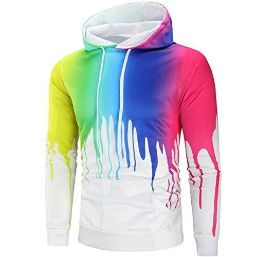 Color Paint Funny Manga Larga con Capucha Abrigo Colorido con Capucha Sudadera con Capucha De Gran Tamaño Hombres Impresión Digital 3D Camiseta Sweater-XL