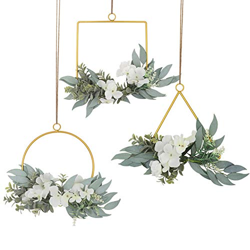 LSME Flower Hoop Wreath Set of 3,White Artificial Hydrangea Flower and Willow Leaves Wedding Garland Greenery Wall Backdrop Nursery Baby Shower Decoration