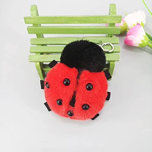 Ladybug Bug Bug Key Chain decoración imitación Artificial Fur Material Lady Bag Car Key Alloy Pendant 1color