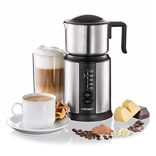 Cloer 7789 Induktions-Milchaufschäumer, für bis zu 450 ml, kalter oder warmer Milchschaum, heiße Schokolade, verschiedene Programme wählbar, 500W, magnetische Aufschäumspule, Edelstahlkännchen