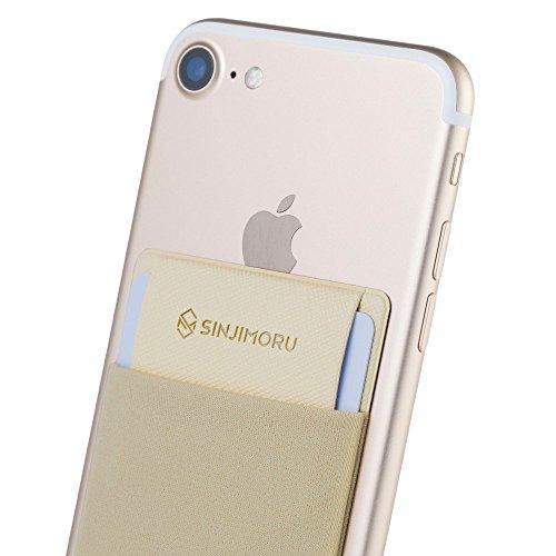 Sinjimoru Funda ultradelgada engomada para Tarjetas o Dinero, diseñada para teléfonos Inteligentes iPhone y Android. Sinji Pouch Flap, Beige.