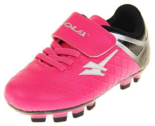 """Gola """"Activo5"""" - Turnschuhe für Jungen und Mädchen für Einsatz bei Fußball auf Kunstrasen , Pink - Rosa Schwarz Silber Aka830 - Größe: 26 EU"""