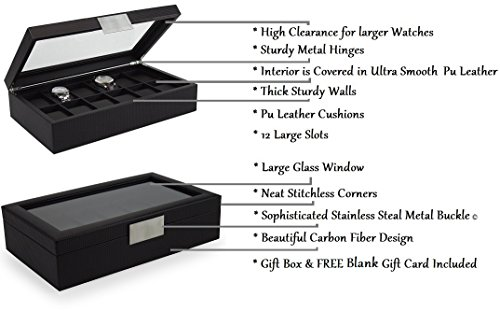 Glenor Co Watch Box for Men - 12 Slot Luxury Carbon Fiber Design Display Case, Large Holder, Metal Buckle - Black