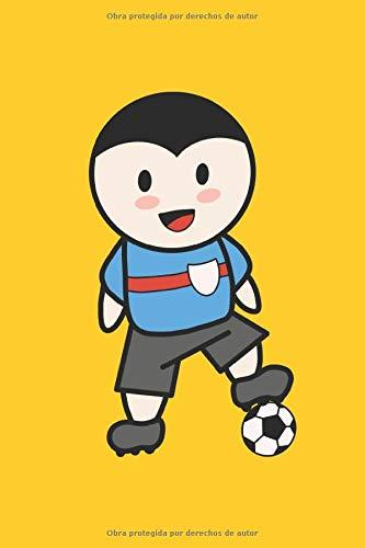 Dibujos animados de niño de fútbol: Libreta forrada de regalos para jugadores de fútbol y jugadores de fútbol para niños (formato A5, 15,24 x 22,86 cm, 120 páginas)