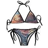 Bikini Sexy Trajes de baño de Dos Piezas, Pez Pulpo Agua de Acuario, Cuello Ajustable Halter Trajes de baño de Cintura Alta para Mujeres, Talla M