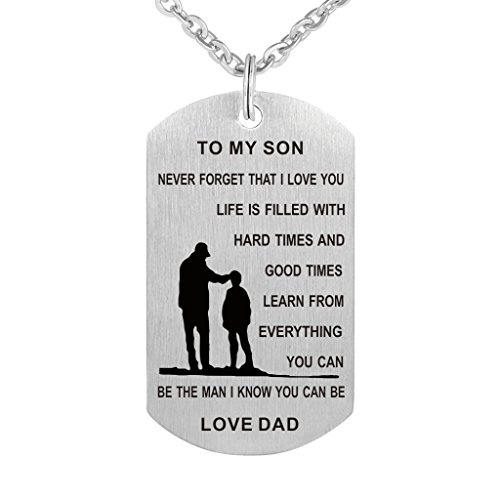 To My Son Dog Tag Stainless Steel Necklace Never Forget I Love You Military Dogtags Pendant Necklace