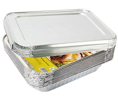 """eHomeA2Z Aluminum Foil Pans With Lids Half Size (10 Pack)10 Lids and 10 Pans 9"""" x 13"""" Prepping, Roasting, Food, Storing, Heating, Cooking, Chafers, Catering, Buffet Supplies"""