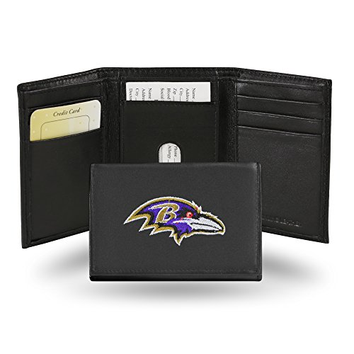 Rico Industries Baltimore Ravens Embroidered Leather Tri-Fold Wallet