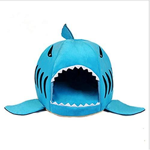 Longzhuo - Cesta per cani e gatti, per quattro stagioni, stile squalo, per casa, con cuscino morbido (S, blu)