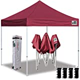 Eurmax 10'x10' Ez Pop Up Canopy Tent Commercial Instant Canopies with Heavy Duty Roller Bag,Bonus 4 Sand Weights Bags (Burgundy)