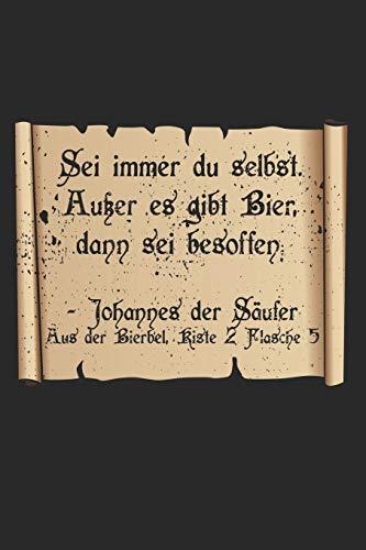 Johannes Der Säufer: Alkohol Bier Saufen Notizbuch / Tagebuch / Heft mit Karierten Seiten. Notizheft mit Weißen Karo Seiten, Malbuch, Journal, Sketchbuch, Planer für Termine oder To-Do-Liste.