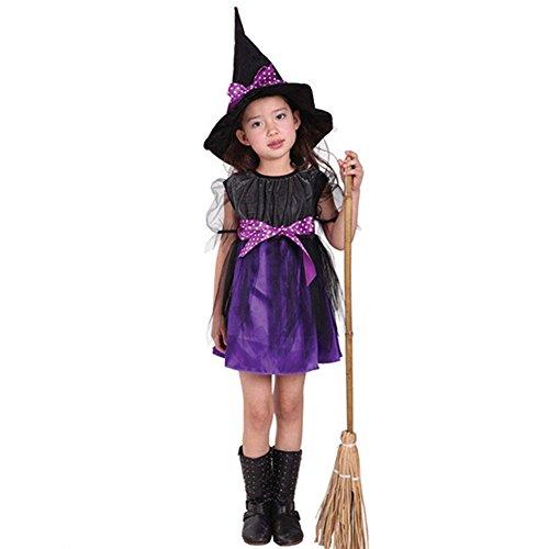 Kinderen Kinderen Meisjes Halloween Heks Dress+Hoed Kinderdag Prinses Feestjurken Carnaval Cosplay Kostuum 130 Paars