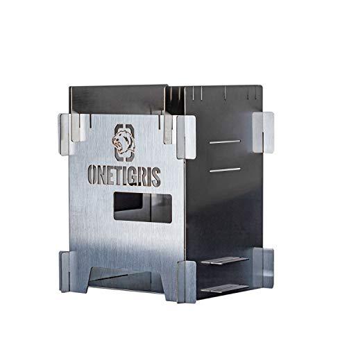 OneTigris ROCUBOID ミニ焚き火台 ソロストーブ スマートグリル ウッドストーブ 組立簡単 アウトドア キャンプ 軽量 コンパクト 折りたたみ 収納バッグ付き (悪魔の顔)
