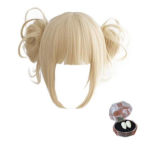 Misakii Anime Cosplay Wig with Free Wig Cap Short Blonde Ponytail Synthetic Wig for My Hero Academia (Himiko Toga Yellow)