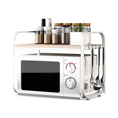 JUNYYANG Microondas horno de carro de cocina Estante de múltiples funciones de madera del horno microondas parrilla del horno en rack de almacenamiento en rack de almacenamiento en rack condimento 58c
