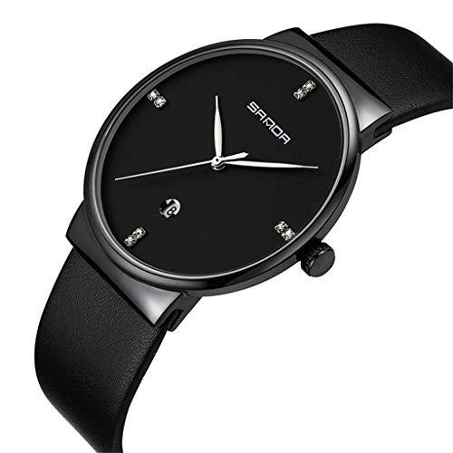 GLEMFOX heren kwartshorloge leren armband-waterdicht klassiek design met datum stijlvol business herenhorloge #3