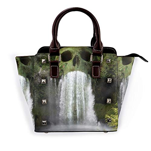 BROWCIN Skull Mountain Scenic Waterfall Natursee Wasserpflanze Grüner Baum Abnehmbare mode trend damen handtasche umhängetasche umhängetasche