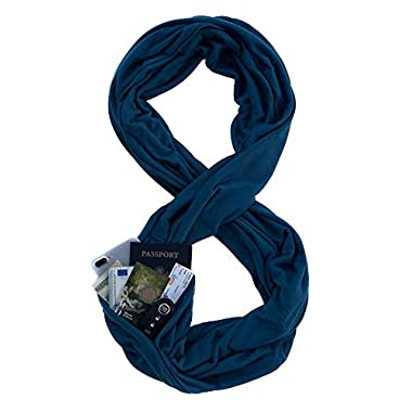 TRAVEL SCARF by WAYPOINT GOODS//Infinity Scarf with Hidden Pocket (Sapphire)