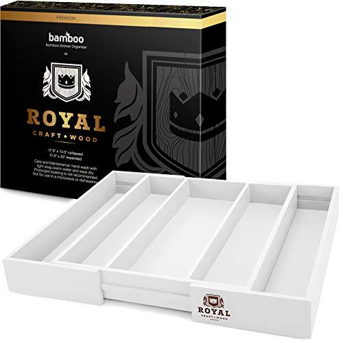 Schubladen-Organizer aus Bambus – erweiterbarer Besteck-Organizer/Utensilienhalter und Besteckkasten (weiß)