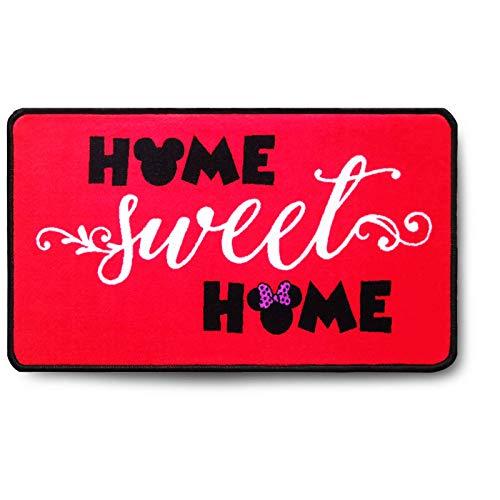 J.Ehonace - Alfombra de baño con diseño de Mickey Minnie Mouse, Alfombra de Entrada para Interiores y Exteriores, Alfombra de Cocina, 43 x 76 cm, Home Sweet Home-Red
