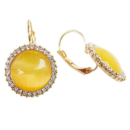 Navachi, Orecchini a monachella a forma di cerchio placcati in oro 18 ct, con pietra d'opale e 18ct base metallo placcato oro, colore: Yellow, cod. HB6-1080-2