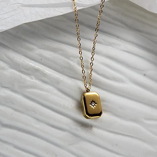 Colgante collar joyería Cadena cruzada de ladrillo cuadrado tridimensional retro japonés simple estrella de ocho puntas collar de cadena de clavícula de piedras preciosas chapado de acero de titanio