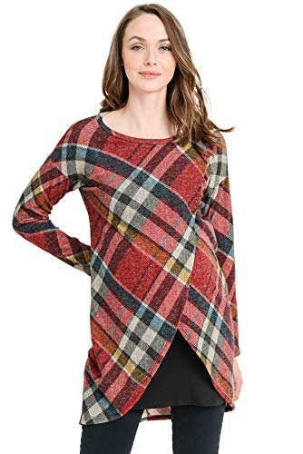 HELLO MIZ Women's Sweater Knit Long Sleeve Maternity Nursing Tunic Dress