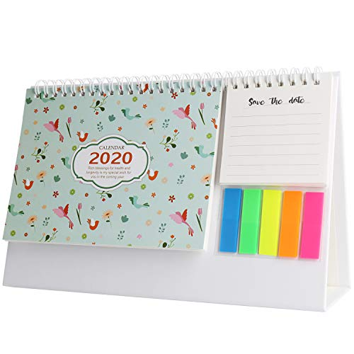 Calendario de escritorio Agosto de 2019-diciembre de 2020 con calendario de tareas diarias para decorar el escritorio del hogar, color flamingo…