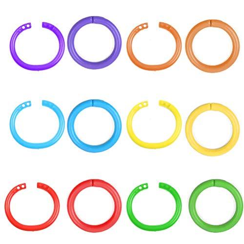 Binder Ringe Kunststoff Lose 96 Stück Blatt Buch Ringe Notizringe Bücherringe Keychain für Fotoalbum Scrapbook Album Handwerk Papier Karten Mehrfarben