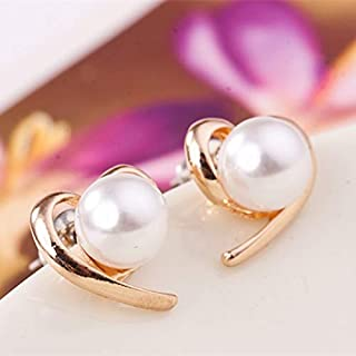 Pendientes Pendientes De Perlas Cute Peach Heart Love Heart Stud Earrings para Mujeres Fashion Party Wedding Jewelry