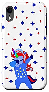 Dabbing American Unicorn with Red and Blue Stars iPhone Case