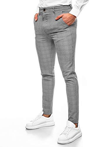 OZONEE Herren Chino Hose Chinos Stoffhose Chinohose Anzughose Anzug Herrenhose Röhrenhose Pants Elegant Business Slim Fit Regular Klassisch Classic Basic DJ/5525 GRAU W33