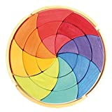 Grimm's Spiel & Holz Grimm's Large Circle of Goethe - Wooden Waldorf Color Wheel Pattern Puzzle Blocks in Storage Tray by