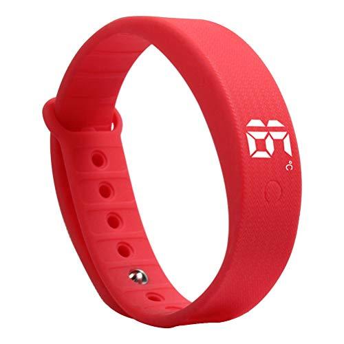 Relógio de pulso-Pulseira de fitness com pedômetro masculino e feminino esportivo à prova d'água pulseira inteligente de monitor de temperatura com tela sensível ao toque LED (vermelha)