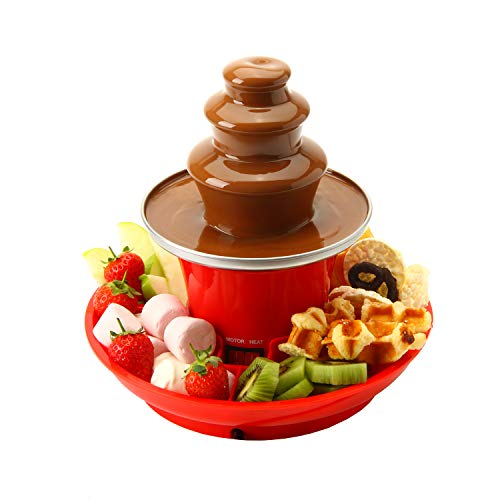 Global Gourmet Mini Chocolate Fountain Fondue Set with Party Serving Tray...