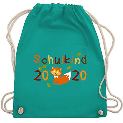 Shirtracer Einschulung und Schulanfang - Schulkind 2020 Fuchs Herbst - Unisize - Türkis - fuchs turnbeutel - WM110 - Turnbeutel und Stoffbeutel aus Baumwolle