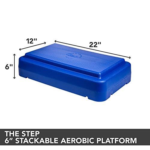 The Step 6' Stackable Aerobic Exercise Non-Slip Platform with Nonskid Feet to Prevent Sliding, Blue (70136)