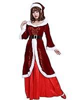 Miccostumes 女性 サンタクロース コスプレ 衣装 長袖 ドレス クリスマス パーティー 忘年会 (XL)