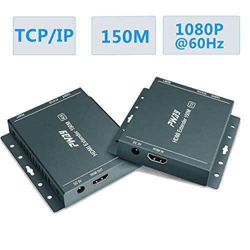 GHT HDMI Extender Ethernet Over TCP/IP,1080P @ 60Hz, Über ein einziges Cat5e / Cat6 / Cat 7-Kabel Bis zu 150m (492 ft) (Sender und Empfänger)