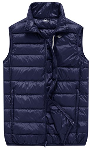 Wantdo Men's Packable Lightweight Feather Down Vest Puffer Jacket, Navy Blue, XL