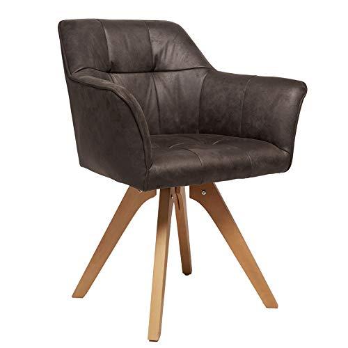 Invicta Interior Design Stuhl LOFT antik grau Beine aus Buchenholz mit Armlehnen Esszimmerstuhl Armlehnstuhl
