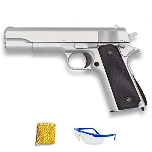 GOLDEN EAGLE 1911 Plata GE3003.- Pistola de Airsoft Calibre 6mm (Arma Aire Suave de Bolas de plástico o PVC). Sistema: Muelle. <3,5J